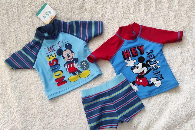 Strój kąpielowy trzy części Mickey Mouse nowy 9-12 m plażowy kostium