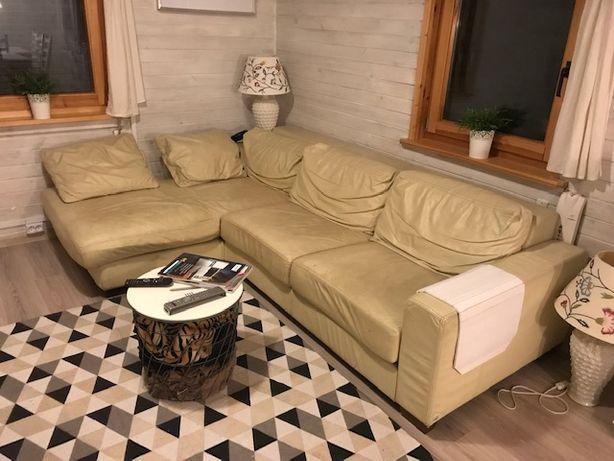 skórzany komplet wypoczynkowy, narożnik, fotel firmy Mebel Plast