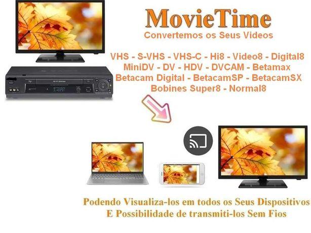 Conversão cassetes câmara filmar Video8 Hi8 VHS VHSC MiniDv HDV Dv