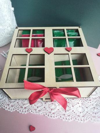 Drewniane pudełko na herbatę herbaciarka Dzień Mamy