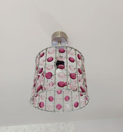 2 szt. Lampa sufitowa, różowe szkiełka, sypialnia, pokój dziewczynki