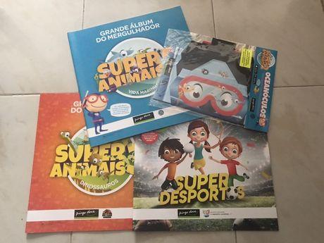 Álbum + cartas Coleção Super Animais 2, 3, Super Desportos Pingo Doce