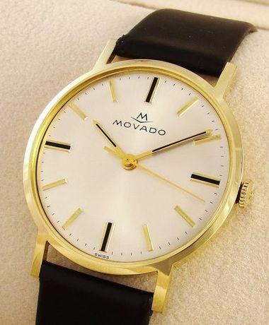 Zegarek męski, naręczny, złoty, Movado, szwajcar z wyższej półki.