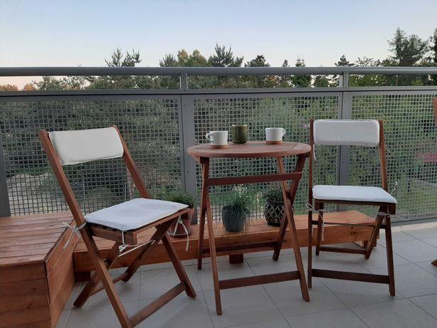 Zestaw mebli balkonowych drewno akacjowe * Stolik + 2 krzesła *boho*