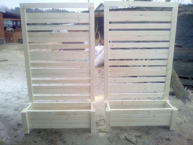 Donica z pergola drewniana z drewna drewniana donice zielnik kwietnik