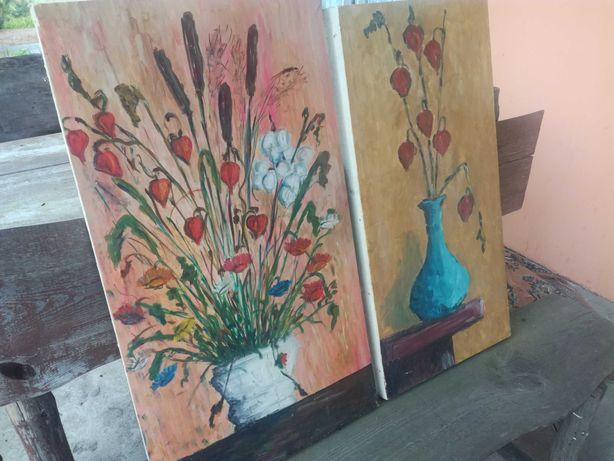 Ręcznie malowany obraz, artysta ludowy nieznany 2szt
