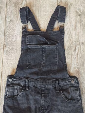 Reserved spodnie ogrodniczki jeans strecz 152