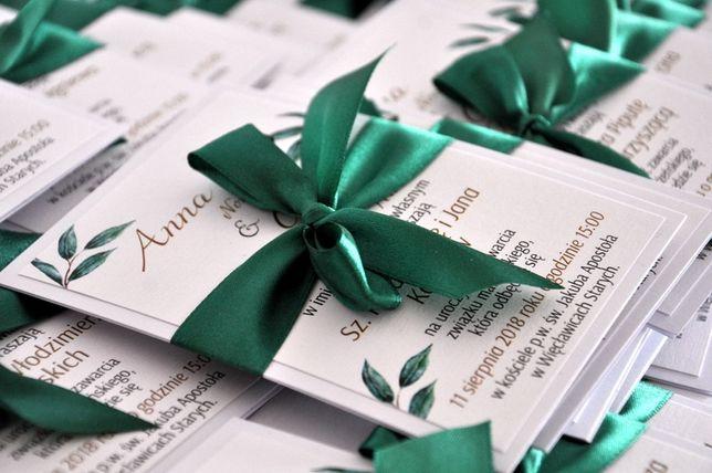 Zaproszenie Ślub.Liście Eukaliptusa.Białe karty+wstążka.