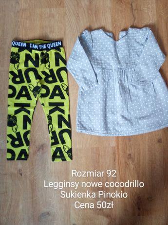 Szara Sukienka Pinokio rozmiar 92 legginsy cocodrillo 92 nowe