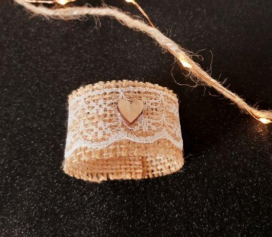 Jutowe obręcze, pierścienie na serwetki