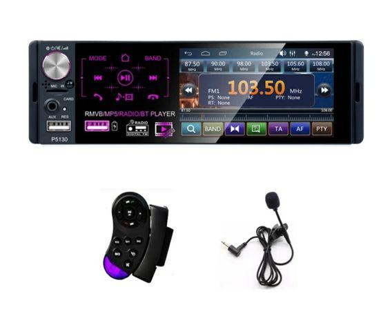 Rádio 1 DIN ecrã tátil+RDS+Kit mãos livres+Comando de Volante/câmera