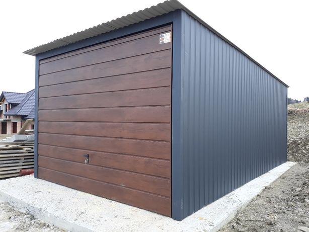 Garaż 3x5 antracyt z brama uchylna orzech - dowolne kombinacje