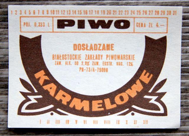 Biały KRUK etykieta piwa KARMELOWE NZ-73 Br. Łomża