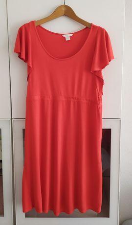 Sukienka ciążowa XL czerwona H&M mama 42 lato letnia ubrania odzież
