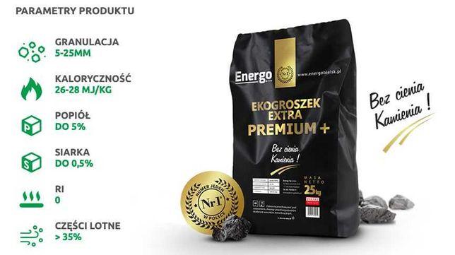 Ekogroszek Extra Premium + Energo 26-28MJ/kg tona. Doskonała jakość.