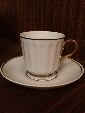 Кофейный фарфор набор на 6 персон с позолотой