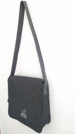 Pojemna +A4 filcowa ciemno szara torba, lekka solidna męska, damska