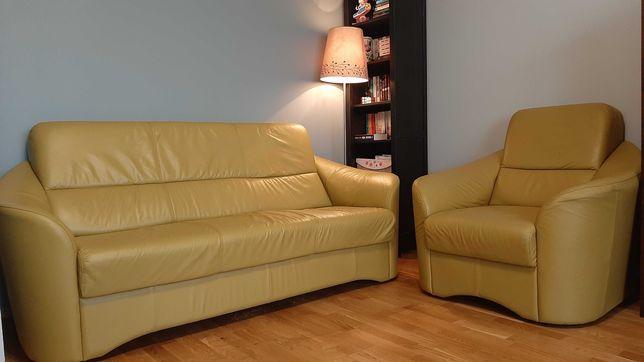 Sofa 3 os. + fotel. Skóra.