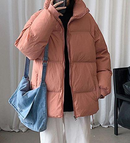Воздушная куртка пуховик розового цвета