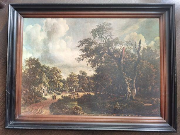 "Obraz,, Pejzaż w Puszczy Haarlem"" M. Hobbem"