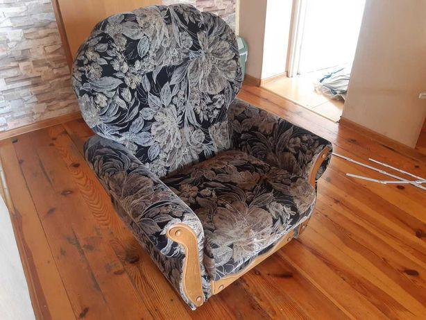 Fotel tapicerowany wykończenie drewniane buk - 2 szt. Zabrze
