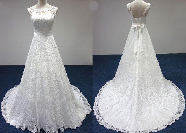 suknia ślubna sukienka koronka tren 34 XS