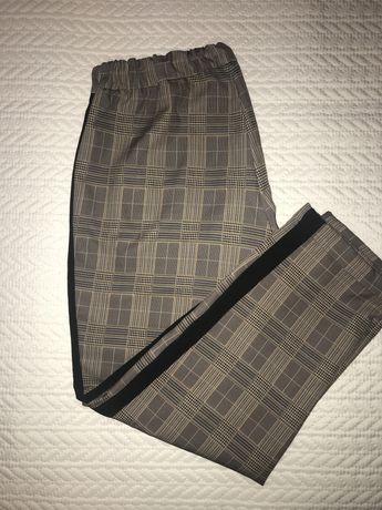 Spodnie z lampasem pull&bear w kratke krate