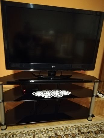 Szafka pod telewizor, szafka rtv narożna, czarna szklana