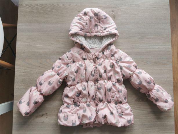 Różowa kurtka zimowa w króliczki f&g 86