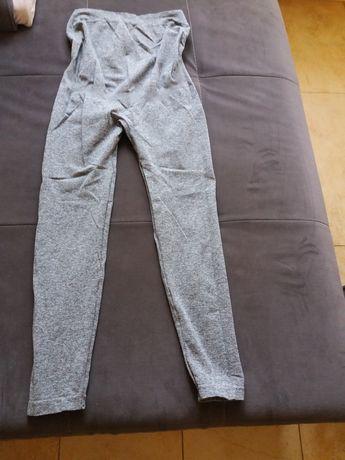 Legginsy spodnie czarne siwe
