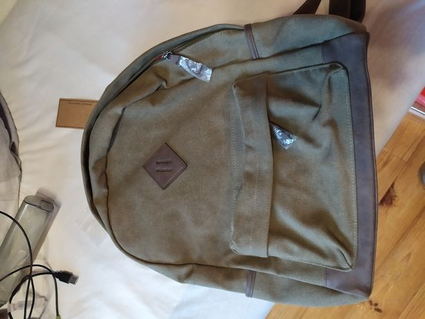 Porządny plecak z grubego materiału i skóry jackson
