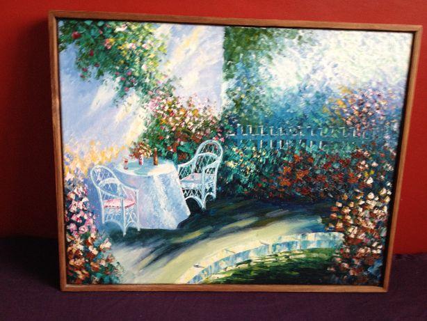 obraz olejny w drewnianej ramie Ogród