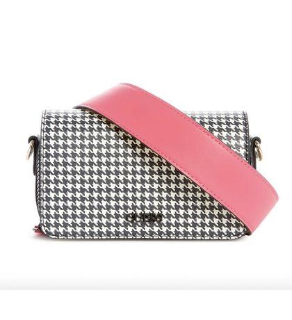 Черно-белая сумка кроссбоди через плечо на плечо guess picnic pepita