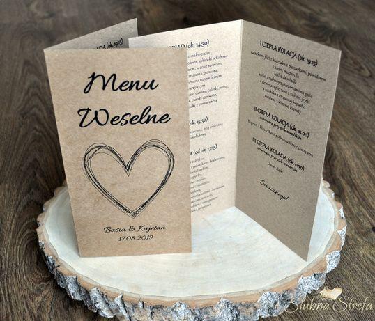 Menu weselne menu na wesele papeteria ślubna