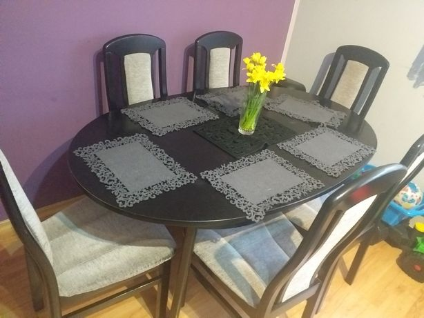 Solidny bukowy stół + 6 krzesel polecam