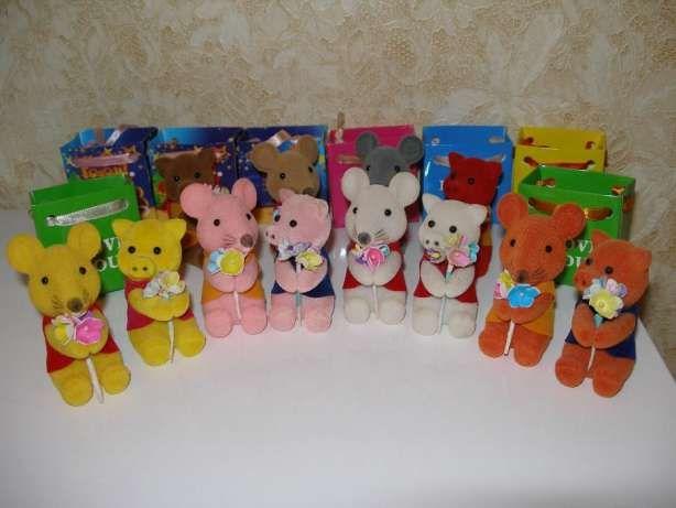 Бархатные игрушки-прищепки свинка мышка коровка с букетом i love you