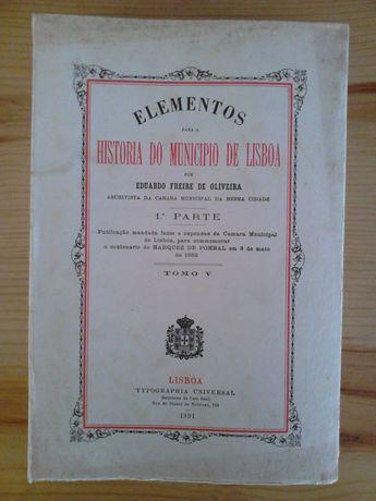 Elementos para a História do Município de Lisboa 1ª Edição 1891