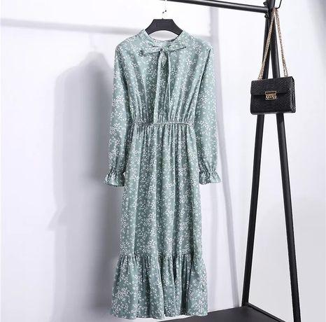 Пыльный зеленый цвет платье миди цветочный принт зелена сукня квіти