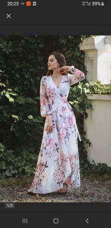 Lekka sukienka w kwiaty 44 46 48 maxi