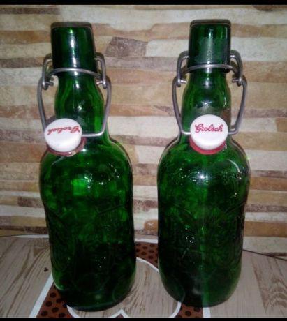 Conjunto 2 garrafas vazias cerveja holandesa grolsch