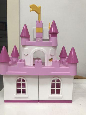 Замок для принцессы розовый по типу Lego, Часы - пазлы