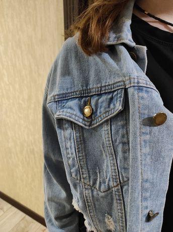 Джинсовая куртка, пиджак оверсайз