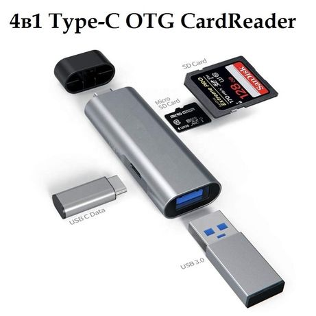 Кардридер OTG CardReader Type-C to USB 3.0 / USB-C data / SD / MicroSD