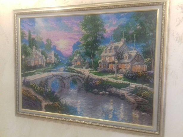 Картина вышитая бисером. Летний закат