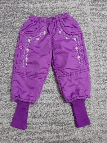 Spodnie zimowe narciarskie fioletowe dziewczęce bardzo ciepłe roz 98