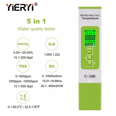 Medidor água piscinas aquários sal 5 em 1 tds/ec/sal/s. g./