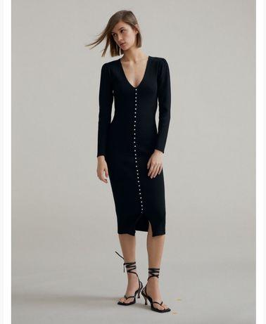 Sukienka zara czarna prążki guziki ołówkowa elegancka