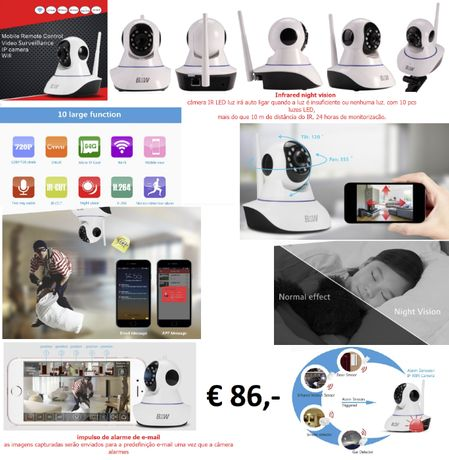 Wifi camera vigilância/caça com visão noturna para exterior/interior