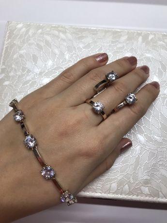 Срібний набір з золотими пластинами