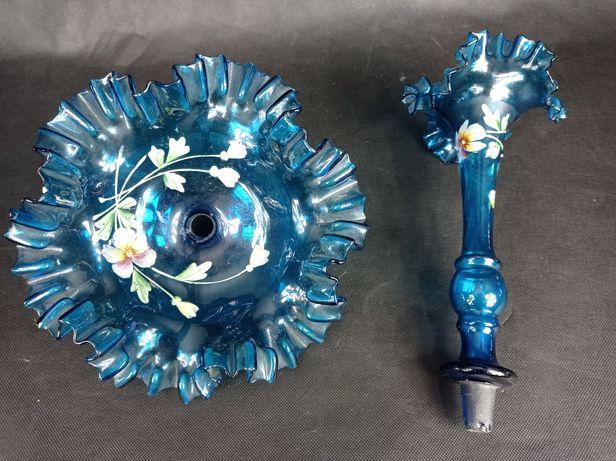 Szkło do patery komplet flet talerzyk niebieski ręcznie malowany kwiat